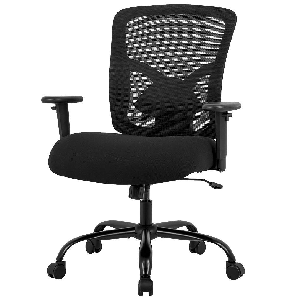 Big and Tall Office Chair Mesh Chair Computer Ergonomic Chair 400lbs Wide Seat Executive Desk Task Rolling Swivel Chair with Lumbar Support Adjustable Arms Renewed