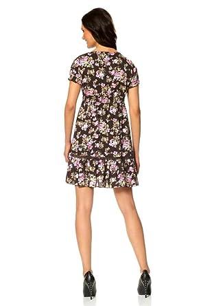 Laura Scott Damen Kleid Kleid mit Blütenmuster Braun Größe