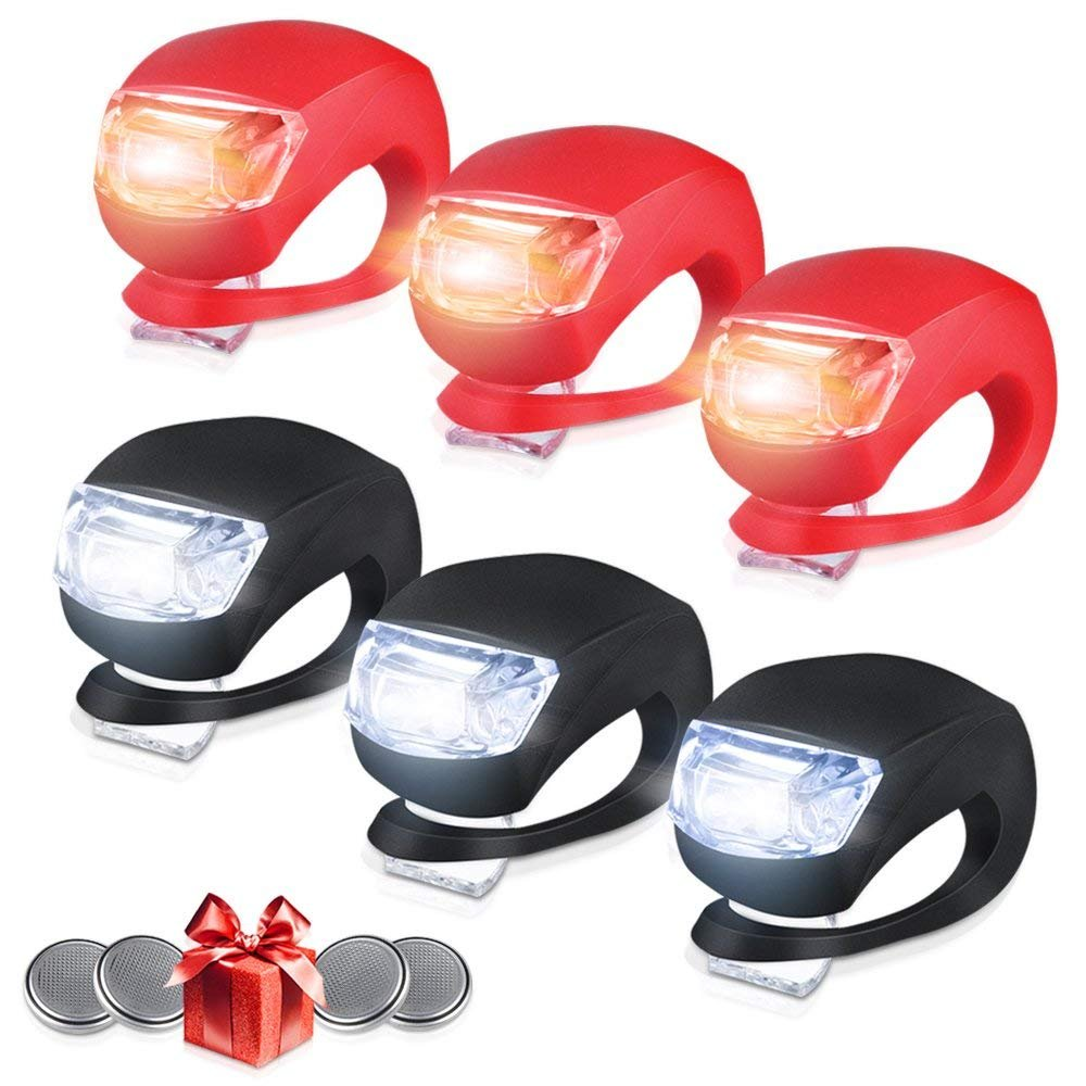 shenzhenroy Set of 6 Bike Lights Front and Back, LED Clip-On Silicon Bicycle Lights with Waterproof Silicone Housing, Multi-purpose Water Resistant Headlight