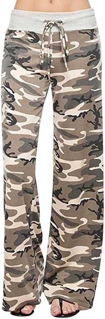 Yuandian Mujer Casual Cordon Impresion Cintura Baja Yoga Amplios Pantalones Palazos Moda Dama Anchos Fluidos Pierna Ancha Pantalon Amazon Es Ropa Y Accesorios