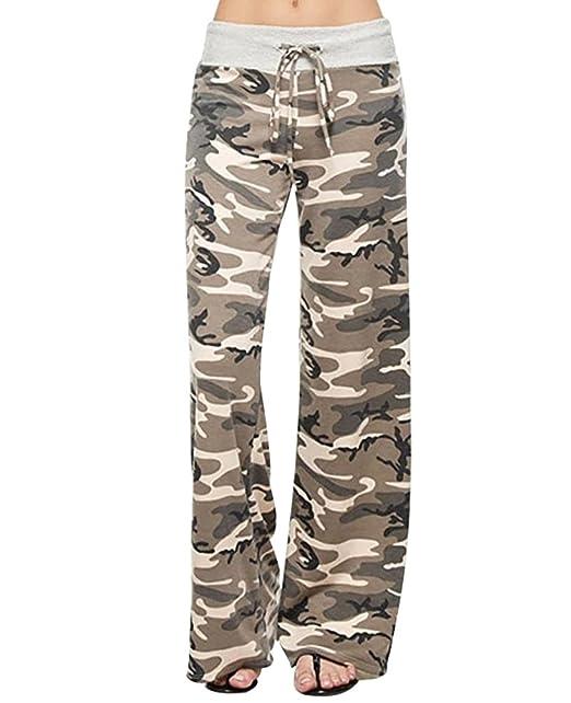 YuanDian Mujer Casual Cordón Impresión Cintura Baja Yoga Amplios Pantalones Palazos Moda Dama Anchos Fluidos Pierna Ancha Pantalon
