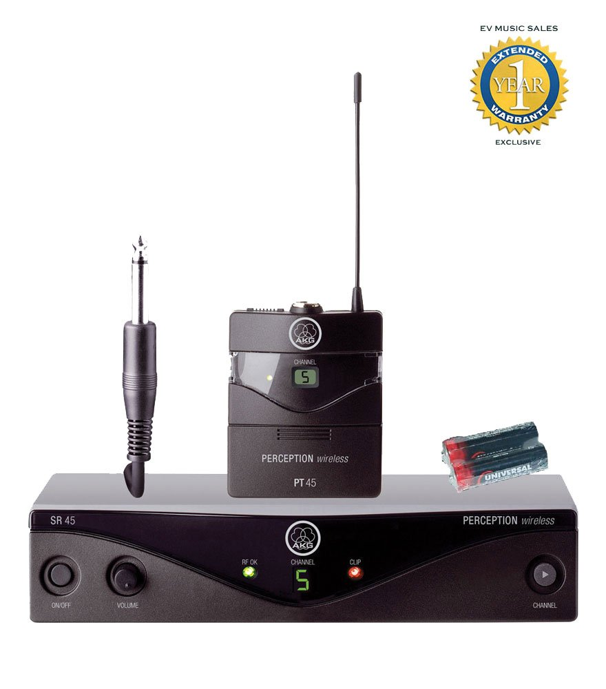 AKG Perception Wireless 45 Instrument System Band A (530 - 560 MHz) and 2 Universal Electronics AA Batteries Bundle with 1 Year Free Extended Warranty