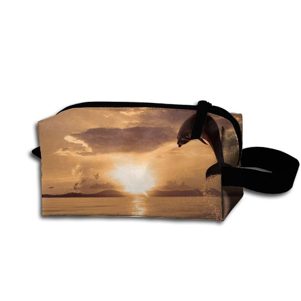 Makeup Cosmetic Bag Animals Dolphin Jumping Zip Travel Portable Storage Pouch For Men Women