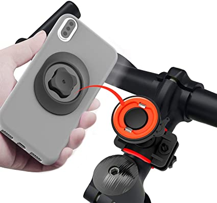 Bike Motorcycle Phone Holder Bike Phone Mount Bracket Universal Adjustable Cell Phone Holder Detachable Waterproof Holder for Cellephone iPhone 11 8 7 Plus S10 S9 S8 S7