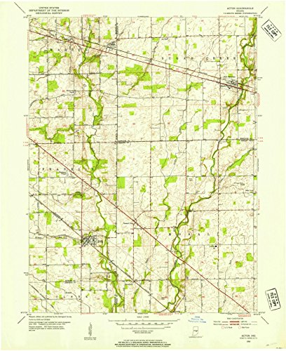Indiana Maps | 1953 Acton, in USGS Historical Topographic Map | Cartography Wall Art | 18in x 24in