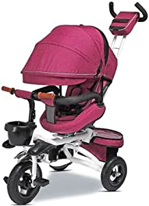 ETERN Kids Tricycle- 4 in 1 Stroll Trike Adjustable Canopy, Safety Harness, Brake, Shock Absorption Design ABS Foot Pedals, Storage Bag, Sponge Guardrail,for Kids 6 Months to 6 Years