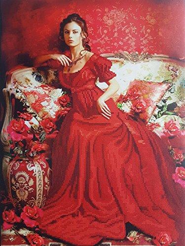 (Lady in Red Bead Embroidery kit Vintage Beautiful Woman Needlepoint Aristocrat Woman Portrait Beaded Cross Stitch Pattern Beading kit)