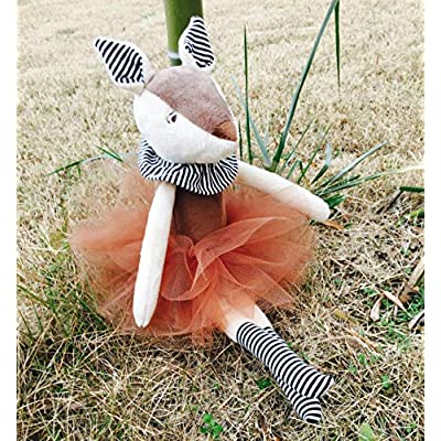 GRANDFINE Luxury Deer Plush Stuffed Toys in Brown Tutu- Handmade Fawn Baby Doll , Fashion Home Accessories,Premium Gift for Kids 14'': Toys & Games