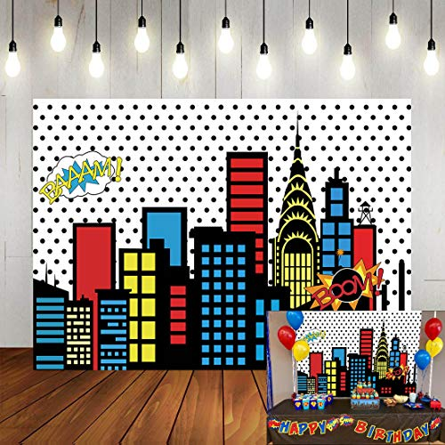 Art Studio 7x5ft Superhero Super City Photography Backdrops Skyline Buildings City Boom Photo Background Children Birthday Party Banner Photo Studio Booth Cake Table Decor Vinyl -