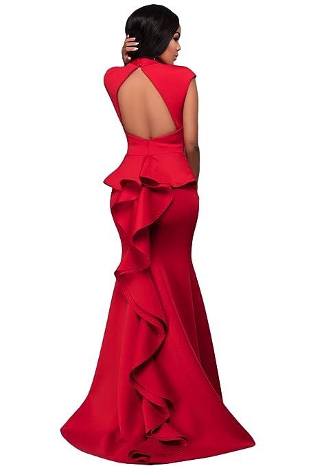 87569b3c943c Nuevas señoras rojo volantes espalda sin mangas vestido de noche ...