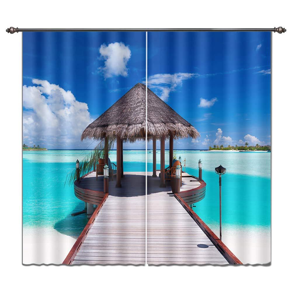 Impresión cortina océano tema por LB, ventana tratamiento Panel para salón o dormitorio, fotos de caseta de paja en claro Agua de mar y cielo Azul: ...