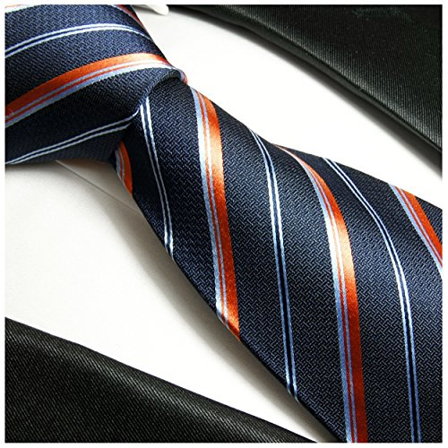Cravate homme bleu orange rayée ensemble de cravate 3 Pièces ( longueur 165cm )
