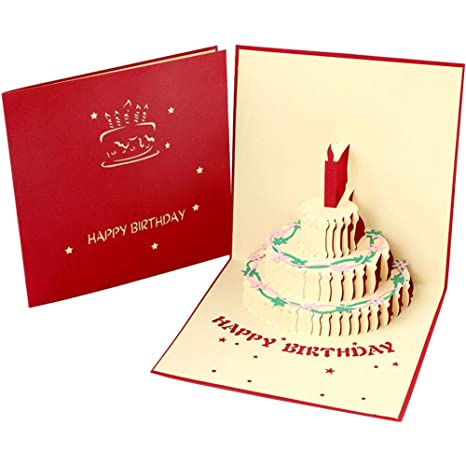 Neborn 1pcs Tarjeta de Pastel de Regalo de cumpleaños Pop Up ...
