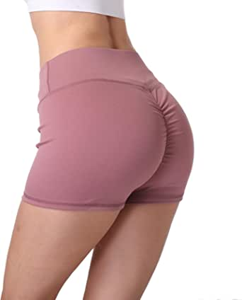 Baihetu Women's High Waist Scrunch Ruched Butt Lifting Yoga Shorts Tummy Control Workout Running Shorts