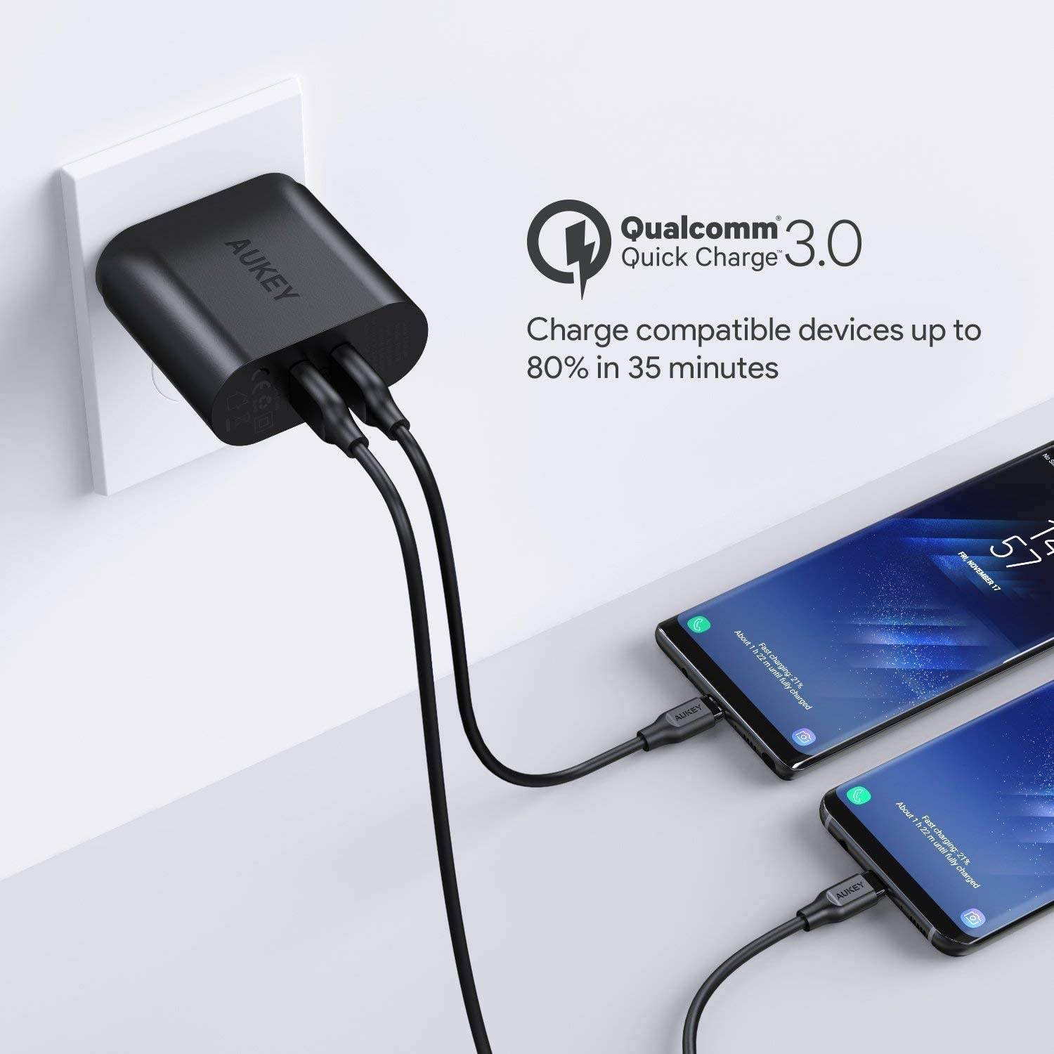 Quick Charge 3.0, AUKEY USB Wall Charger & Dual Ports, Compatible with Samsung Galaxy S9 / S8 / Note8, LG G6 / V30, HTC 10, iPhone 11 Pro/Max/11, and ...