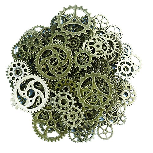 Aokbean 150 Gram Assorted Vintage Bronze Metal Steampunk Jewelry Making Charms Cog Watch Wheel for Crafting, Cosplay Halloween Decoration (Bronze) ()