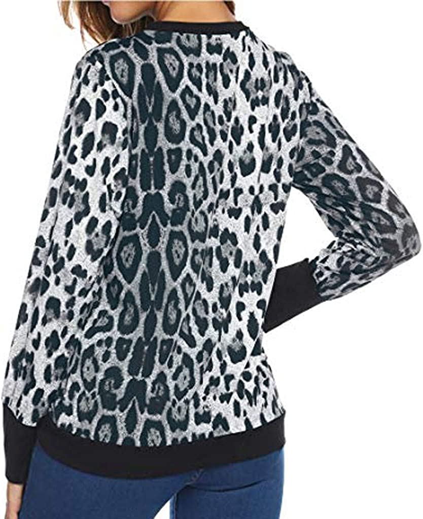 Womens Sweatshirt Fashion Leopard Print Shirt Round Neck Long Sleeve Patchwork Tops for Autumn Winter Outdoor