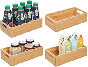 mDesign Bamboo Wood Compact Food Storage Bin with Handle for Kitchen Cabinet, Pantry, Shelf to Organize Seasoning Packets, Powder Mixes, Spices, Packaged Snacks - 4 Pack - Natural