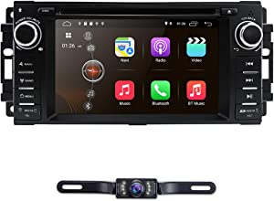 """Android 9.0 Car Stereo GPS DVD Player for Dodge Ram Challenger Jeep Wrangler JK Head Unit Single Din 6.2"""" Touch Screen Indash Radio Receiver with Navigation Bluetooth WiFi"""