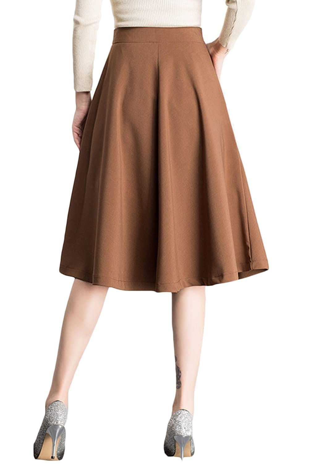 e613282f4b Womens Midi Skirt Casual High Waist A Line Pleated Skater Trumpet Skirt at  Amazon Women's Clothing store: