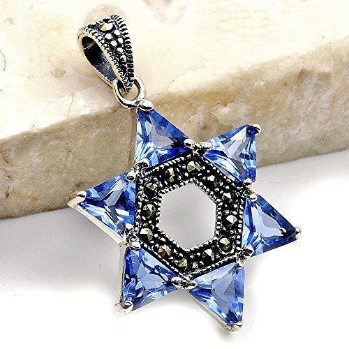 Jewish Star of David Sterling Silver Blue CZ, Marcasite Pendant