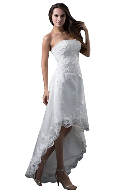 Honey Qiao High Low Wedding Dresses Beach Hi lo Lace A line Bridal Prom  Gowns