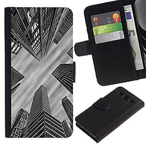 iKiki Tech / Cartera Funda Carcasa - City Architecture Nyc Boston White - Samsung Galaxy S3 I9300