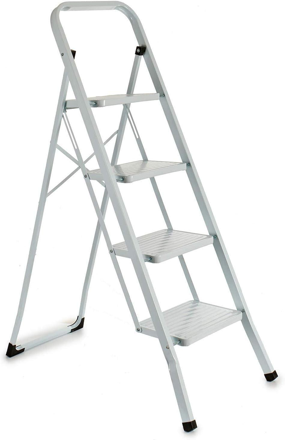 Escalerilla, Escalera plegable Antideslizantes, Negro, Acero Inoxidable (4 Peldaños Blanco): Amazon.es: Bricolaje y herramientas
