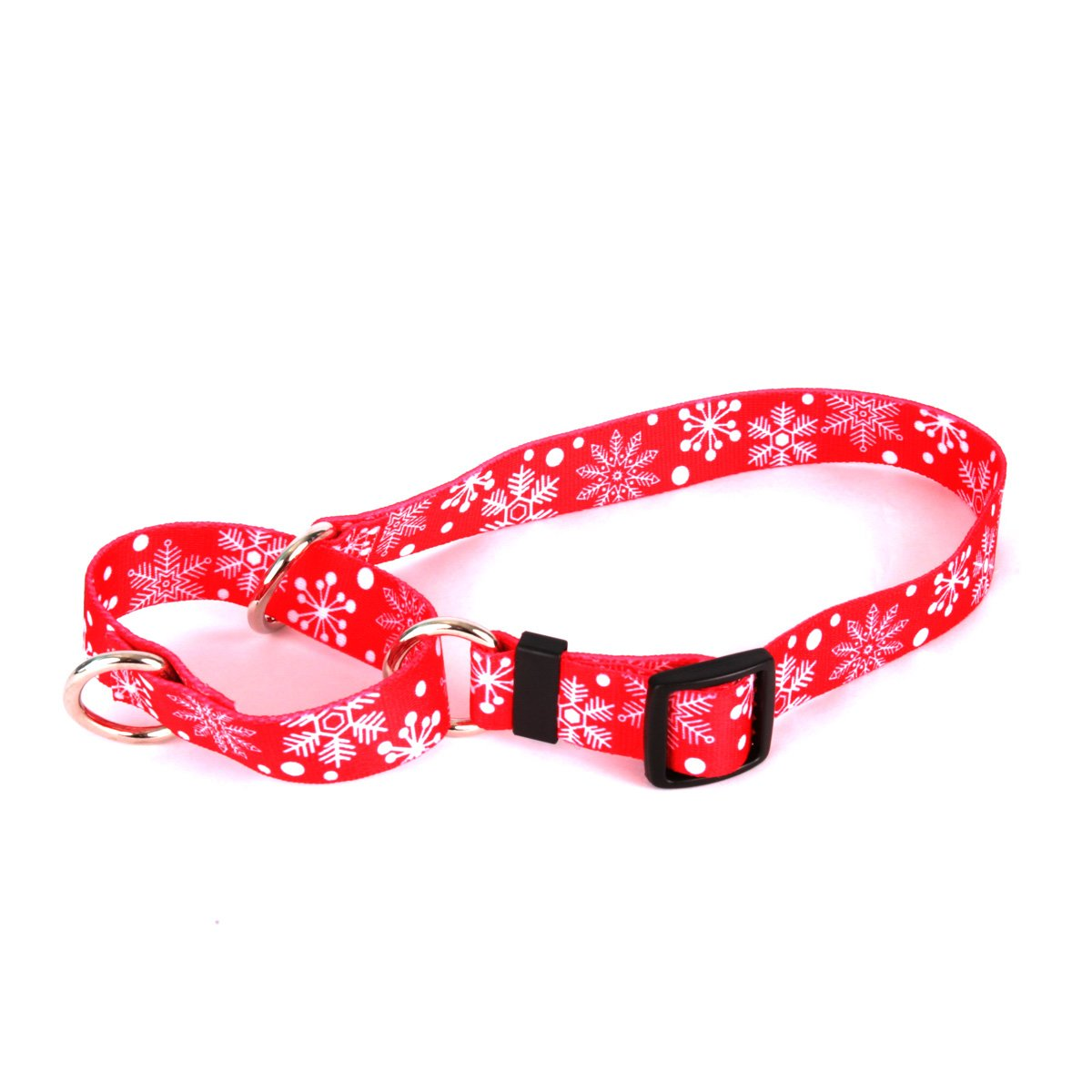 Red Snowflakes Martingale Control Dog Collar Size Large 26  Long Made in The USA