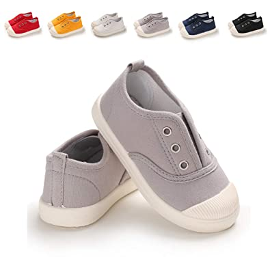 ad80df1422642 ENERCAKE Toddler Boys Girls Shoes Kids Canvas Sneakers Candy Color Slip-On  Lightweight Tennis Shoes