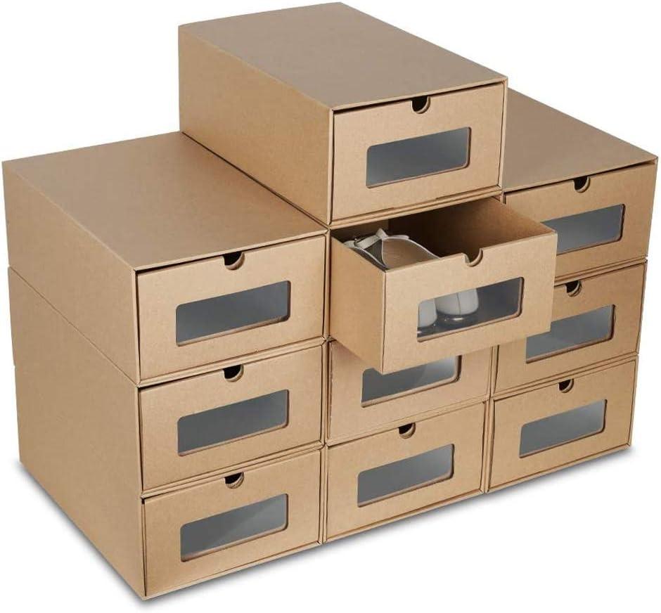 LENTIA Cardboard Storage Shoes Boxes, Set of 10 Storage Boxes with Transparent Windows,35 * 23.5 * 13.5cm