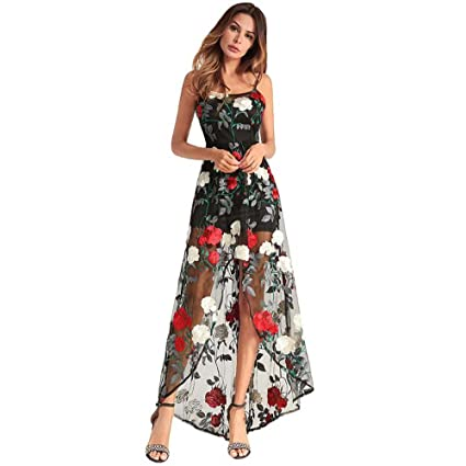 7ad0f2bed51 Onfly Women Mesh Embroidery Suspenders Skirt Sexy Bodycon Colormatch  Irregular Net Yarn Cover Dress Party Dre