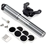 Filixar Mini Bike Pump Portable 160 PSI, Bicycle Pump, Bike Tire Pump, Soccer Ball Pump Needle Included, Bike Air Pump, Compatible Schrader Presta Bike Pump, Bicycle Tire Pump - Grey