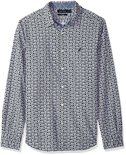 Nautica Men's Long Sleeve Classic Fit Plaid Button Down Shirt, j Navy, Small