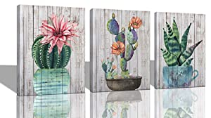 """Canvas Wall Art Prints Watercolor Ball Cactus Cacti Green Plants and Flower Painting Pictures, Succulent Poster Artwork 12""""x16"""" 3 Panels/Set for Bedroom Bathroom Spa Salon Kitchen Home Office Decor"""