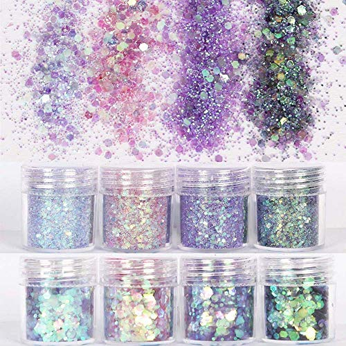 COKOHAPPY 8 Boxes 10ml Holographic Mermaid Dreams Chunky Glitter Sequins Iridescent Flakes Hexagon Tips Mixed Paillette Face Eyes Body Hair Nail Art ()