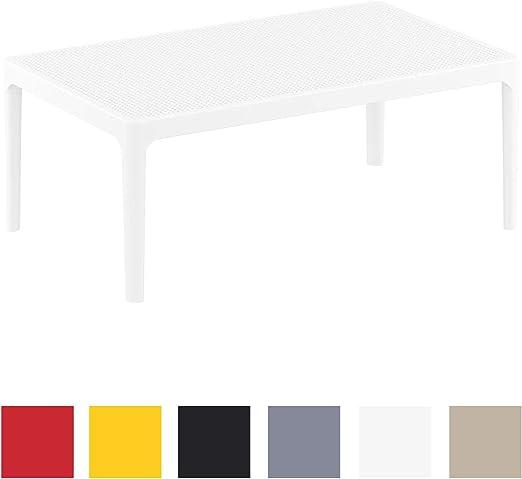 Mesa de Exterior Sky I Mesa de Balcón de Plástico I Mesa de Terraza Resistente a Rayos UV I Mesa Auxiliar de Jardín de Plástico I Color:, Color:Blanco: Amazon.es: Jardín