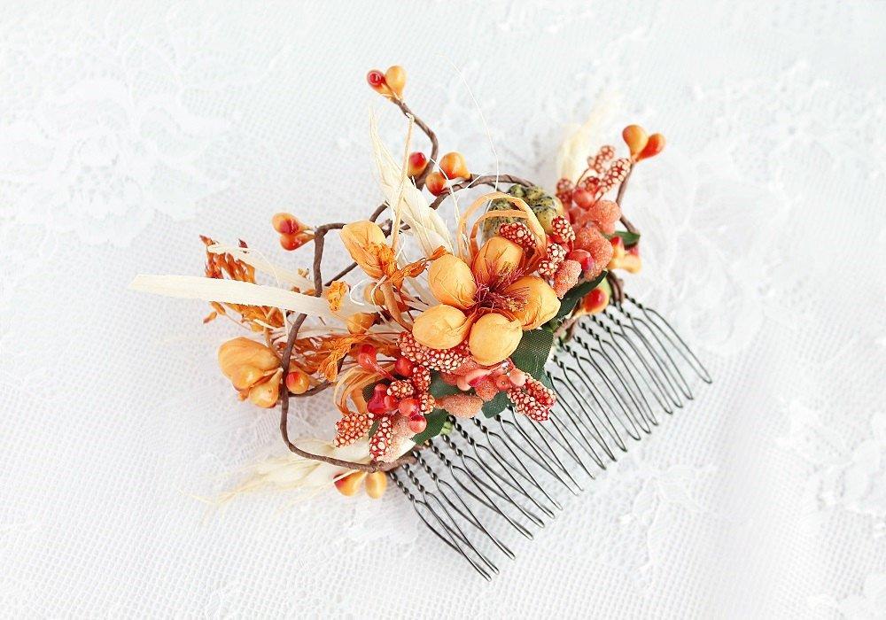 Fall Bridal Hair Comb, Wedding Hair Accessory