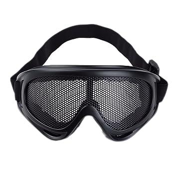 Sijueam reg  Masque Grillagé Airsoft Lunettes de Tir Anti-buée métal  Protection des Yeux pour 69cb0787c774