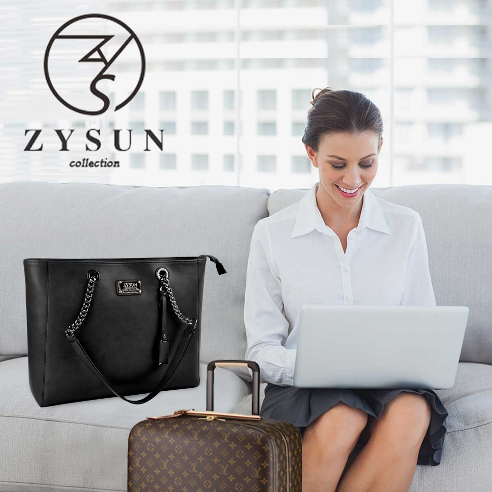 ZYSUN Laptop Tote Bag Fits Up to 15.6 in Wonderful Gifts for Women Gorgeous PU Leather Laptop Tote Bag Fits Up to 15.6 in Classy /& Professional Design for Women Black NB+6032+black