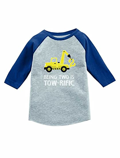Tstars 2nd Birthday Tractor Construction Party 3 4 Sleeve Baseball Jersey Toddler Shirt 2T Blue