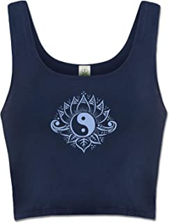 product image for Soul Flower Yin Yang Women's Organic Cotton Fitted Crop Top Shirt, Navy Blue Ladies Cropped Yoga Tank