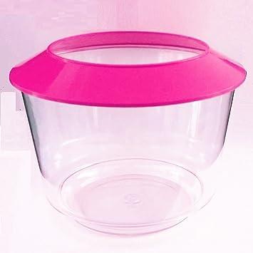 Rosa - Depósito de agua de peces de plástico acuario cuenco color insectos, gusanos de reptiles de peces redondo: Amazon.es: Productos para mascotas