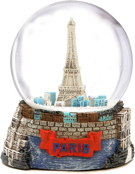 100mm 6 Tall Souvenirs Collection DELIWAY Eiffel Tower Musical Snow Globe with Automatic Snowfall and Colorful Lights Gold Tower