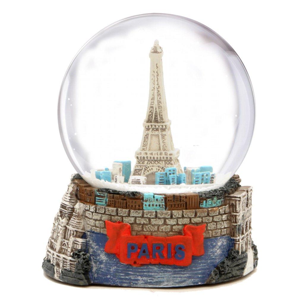 Paris Snow Globe, Eiffel Tower Snow Globe Souvenir (3.5 Inches Tall), 65mm Glass Globes