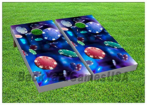 Poker Chips CORNHOLE BEANBAG TOSS GAME w Bags Game Boards Casino Gaming Set 763 by BackYardGamesUSA