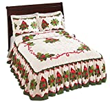 Collections Etc Holiday Cardinal Holly Berry Bedspread, Red, Queen