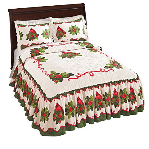 Collections Etc Holiday Cardinal Holly Berry Bedspread, Red, Queen by Collections Etc
