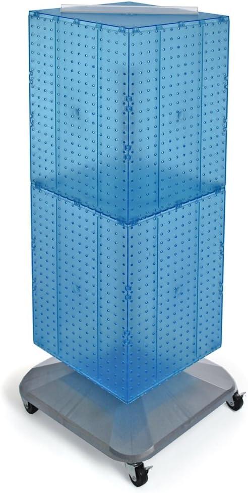 Blue Interlocking Pegboard Display with Metal Wheeled Base 4 W x 4 D x 48 H