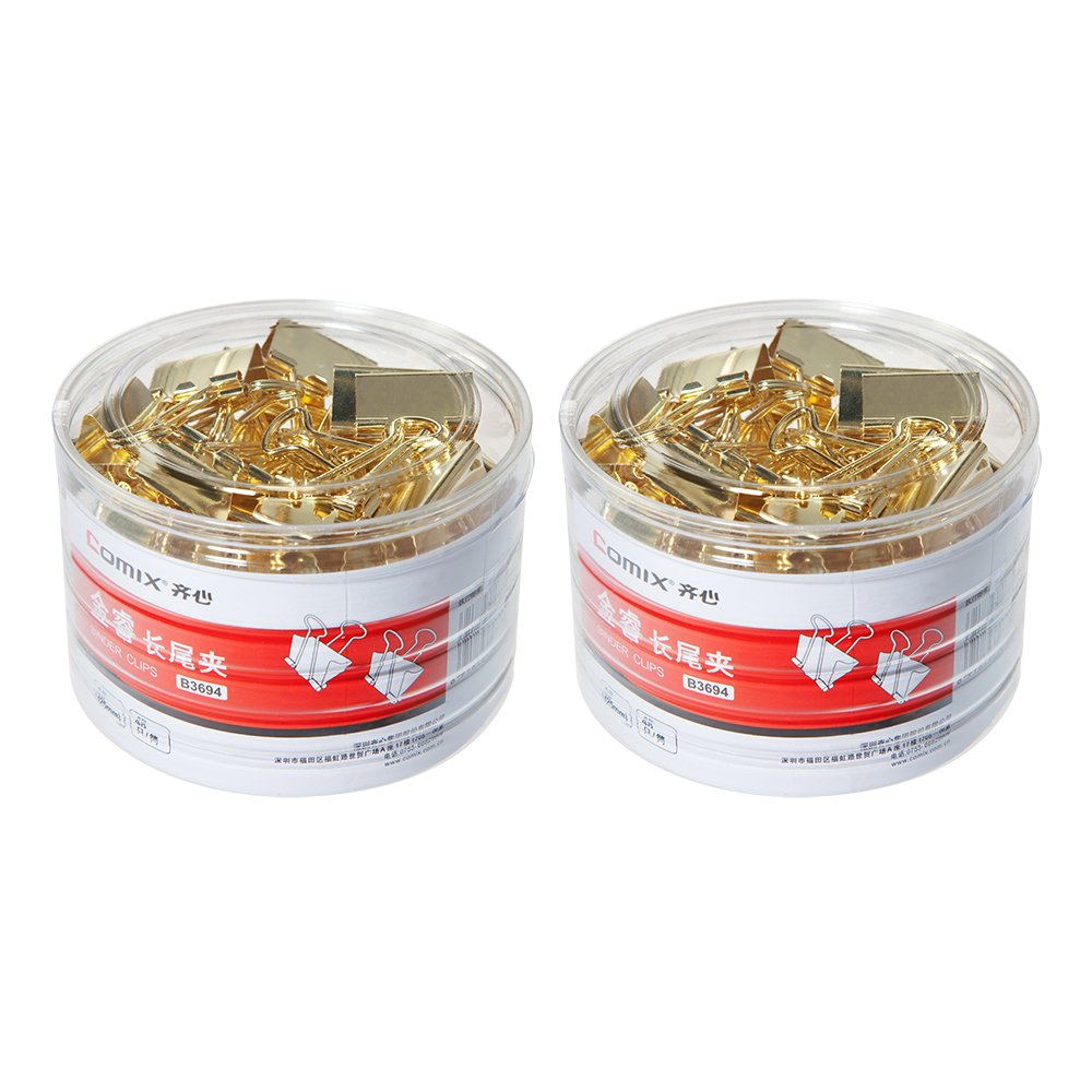 Comix Binder Clips Paper Clamp, Gold Binder Clips,Perfect for Office/School/Home,4 #, 2 Pack, 96pcs) B3694